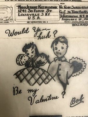 WWII V-Mail Illustrated Valentine Greeting Company C 36th Tank Battalion Germany