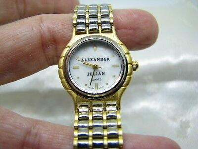 Ladies Alexander Julian Wrist Watch , Pearl Dial Runs, Nice Band,French Movement