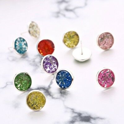 100PCS DIY Flat Round Ear Posts Stud Earring Blanks fit 8 10 12mm Glass Cabochon