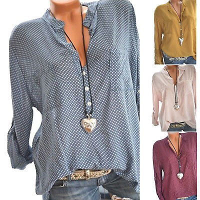 Women's Long Sleeve V Neck Tops Blouse Casual Loose Baggy T Shirts  Plus Size