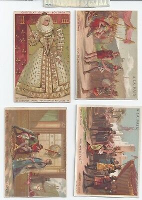 #5 c1900 Lot of 4 Diff - A La Paix French Chocolate Advertising Trade Cards Ad