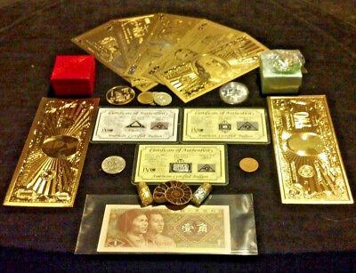 22Pc.~COIN/FOSSIL/7GOLD.BANKNOTES/U.S&WORLD/3SILVER BARS/CHARM+NECKLACEz