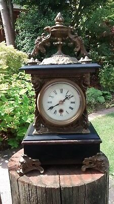 Ornate Brass and Marble Mantel Clock. Spare Parts or Repair