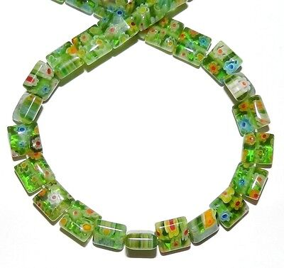 """G3278 Green with Multiple Color Flowers 8mm Square Millefiori Glass Beads 15"""""""