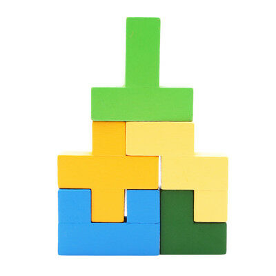 Colorful 3D Wooden Tangram Brain Teaser Puzzle Toy Kids Preschool Tetris Game LD