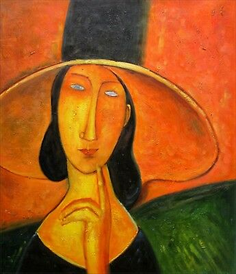 Modigliani Portrait of Jeanne with Hat Repro, Hand Painted Oil Painting 20x24in