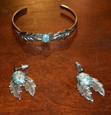 Costume Fashion Jewerly Beautiful Silver & Turquoise Feather Bracelet & Earrings