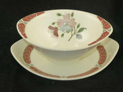 """REPLACEMENT VINTAGE CHINA Wedgwood Soup Bowl & Stand """"ALBANY"""" UNUSED 1960s"""