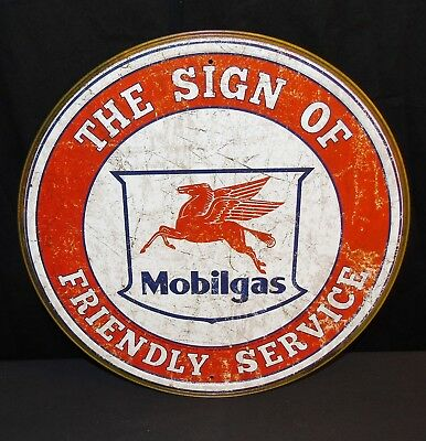 "Mobilgas Friendly Service Oil 11.75"" Round Metal Tin Sign Pegasus Mobil NEW"