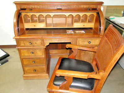 Antique Flame Mahogany Roll Top Desk w/Chair - ANTIQUE FLAME MAHOGANY Roll Top Desk W/Chair - $600.00 PicClick