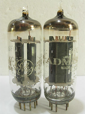 2 matched +/-1970 GE 6FQ7 6CG7 tubes - Gray Plates, Copper Grids, Top O Getter