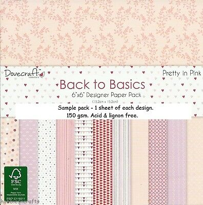 Dovecraft Back To Basics Pretty In Pink Papers - 6 X 6 Sample Pack - 12 Sheets