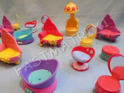 Littlest Pet Shop Lot 3 Random Salon Sofa Bed Chair Stage Cat Dog Accessories