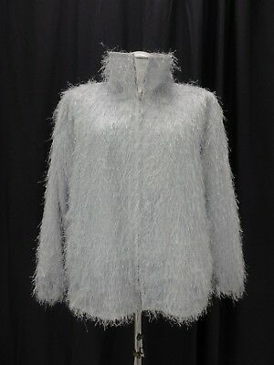 Mink Fox Faux Fur Coat Jacket XL   Gray & Silver Women's 33929