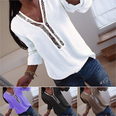 Women's Long Sleeve Sequin V-neck Tops Blouse Ladies Casual T Shirt Plus Size