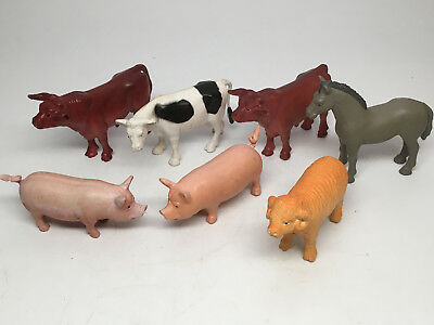 Lot Old Solid Plastic Farm Animals  - 7 pcs. - Pigs, Cows, Horse, Ram