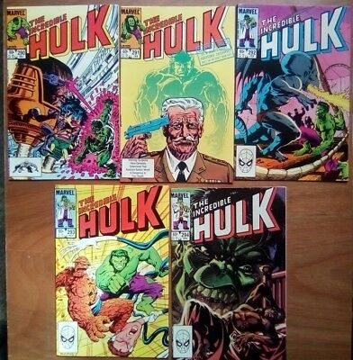 Job Lot 5 Issues Of Hulk Vol.1 #290,291,292,293,294 Marvel Comics 1983 All Fine