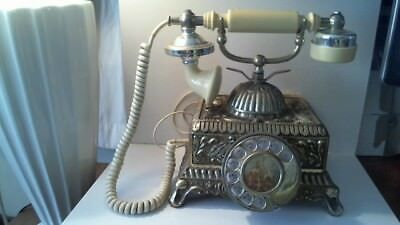 Vintage French Victorian Style Rotary Dial Telephone With A Gold Brass Finish