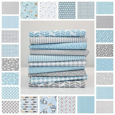 New Blue & Grey 100% Cotton Fabric By the Metre Chevron Star Triangle Dot