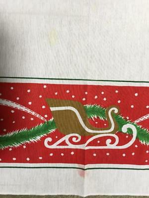57 X 97 Rectangle Christmas tablecloth Red Santa sleigh green garland