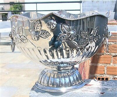 Vintage Silver Plated On Copper Monteith Punch Bowl Lion Handles Marked Tcp Ld
