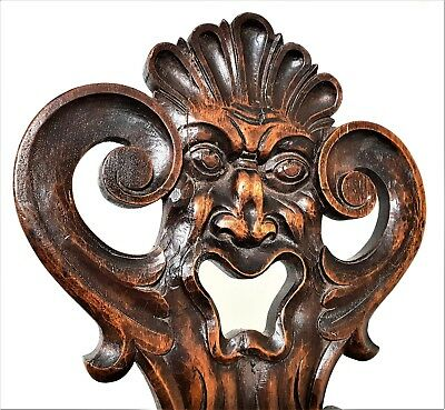 Green Man Panel Antique French Hand Carved Wood Back Chair Salvaged Sculpture