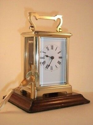 Genuine antique brass carriage clock & key. Restored and serviced August 2018.