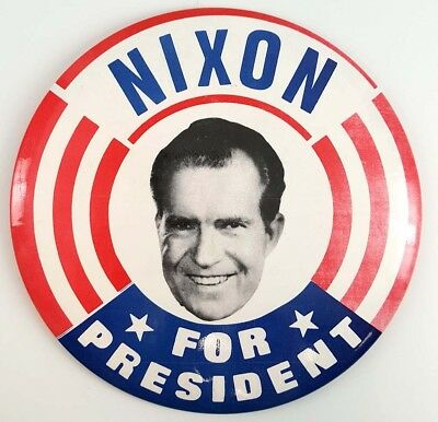 "1968 Nixon For President Large  6"" Campaign Button"