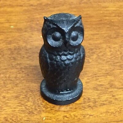 Vintage Solid Cast Iron Owl Paperweight Figurine Black