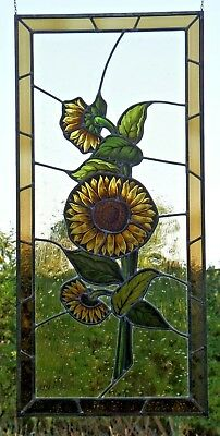 """Leaded Glass Great Old Window Image Stained Glass """" Sunflower """" on Antique Glass"""