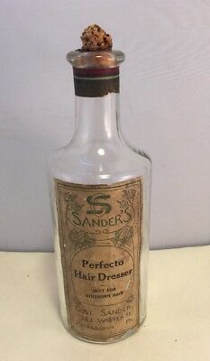 Antique Sanders Perfecto Hair Dresser Tonic Bottle Paper Label Pittsburgh PA