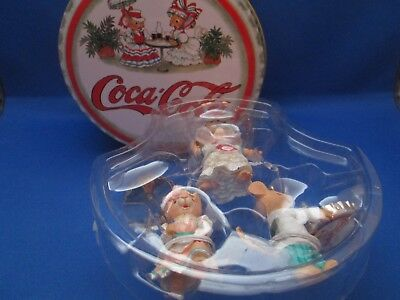 Carlton Cards~Coca Cola~Coke~Christmas Ornaments~Set of 3 Mice in Tin