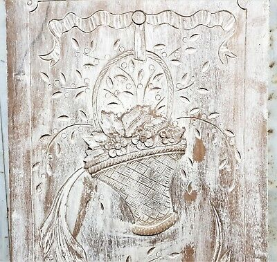 Shabby painted flower panel Antique french carved wood salvaged paneling carving