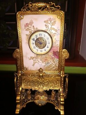 Rare Bronze Exceptional Japonisme French Beautiful WORKING 8 Day Clock 1870s