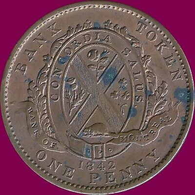 Lower Canada 1842 Bank Of Montreal 1 Penny Coin Token