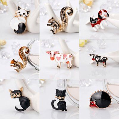 Fashion Cat Squirrel Cow Animal Crystal Brooch Pin Women Jewelry Costume Party