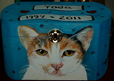 Custom hand painted cat portrait Wood box wooden Pet URN For ashes Cat urn cats