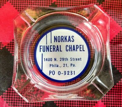 vintage Advertising Ashtray Norkas Funeral Chapel Philadelphia 1950's