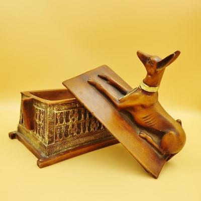 Antique Egyptian Dog Jewellery box of Ancient ANUBIS God of the Dead XX-LARGE