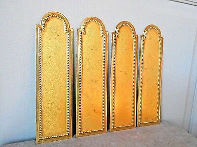 4 FRENCH Vintage Brass Backplates PUSH Plates LOUIS XVI design