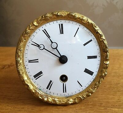 Gold Ormolu Enamel Face WORKING French Silk Suspension Clock Drum Movement