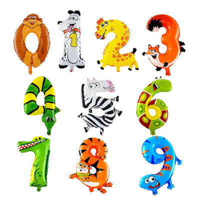 """Self Inflating 16"""" INCH Foil Number BALLOONS Happy Birthday Large Animal Letter"""