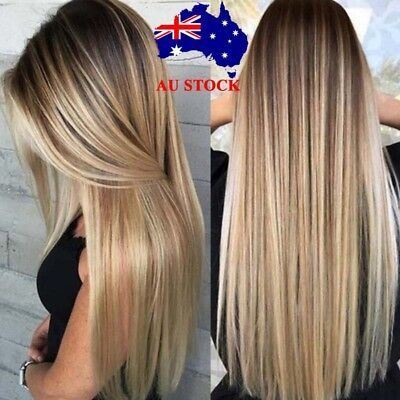 Women Long Ombre Blonde Gold Hair Brown Black Straight Synthetic Wigs + Wig Cap