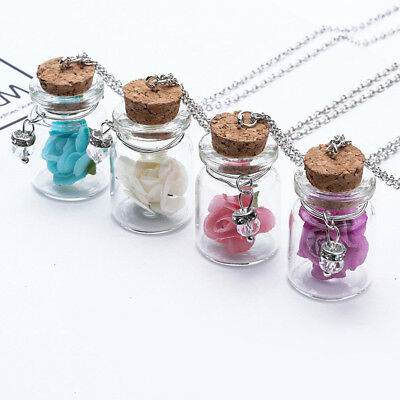 Unique Luminous Glow In The Dark Flower Pendant Glass Wish Bottle Necklace  BS