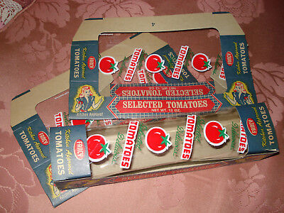 3 VTG CARDBOARD TOMATO DISPLAY BOX CELLO WINDOW STORE ADVERTISING UNUSED 1950's
