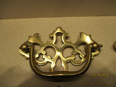 "6 Vintage Solid Polished Brass Chippendale Style Drawer Handles 2.5""  center #9"