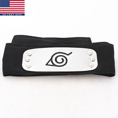 Anime Naruto Kakashi Sasuke Leaf Village Konoha Ninja Black Headband Cosplay US