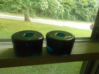 Pair Of Beautiful Deep Peacock Teal Blue Glass Vintage Candlestick Holders