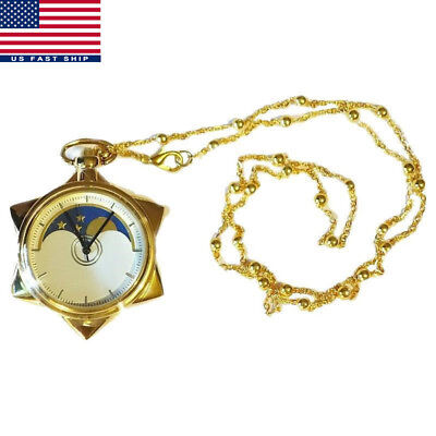 Sailor Moon 20th Anniversary Crystal Star Pocket Watch Necklace Pendant Gift US