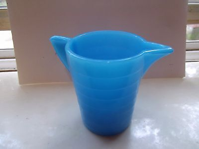 1930's RARE STACKED DISC  BLUE AKRO AGATE SLAG GLASS CHILD's PITCHER
